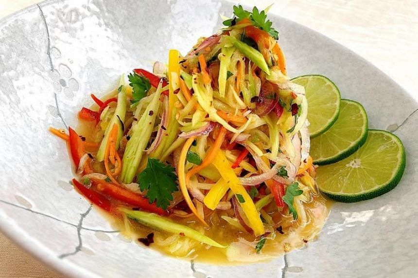 A chayote salad tossed in a spicy coconut oil and coriander dressing.