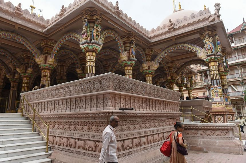 Indian Hindu devotees at the nearly 200 years old Swaminarayan Kalupur Temple in Ahmedabad.