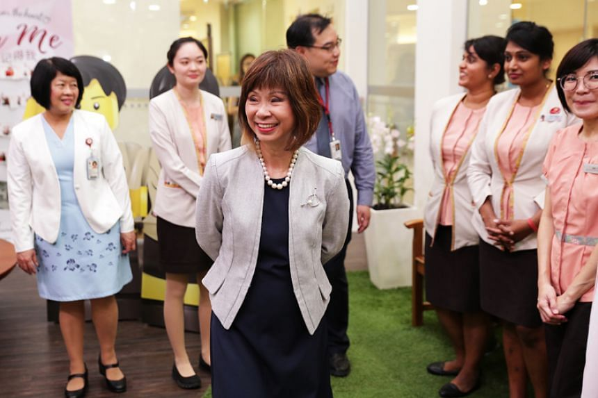 """The training given to new hires now is ad hoc, with some assigned to a """"mentor"""", said Senior Minister of State for Health Amy Khor during a visit to Tan Tock Seng Hospital's Centre for Geriatric Medicine on Friday (Nov 17)."""