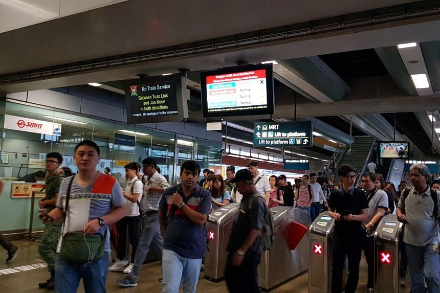 The crowd at Joo Koon MRT station during the second day of disrupted train services.
