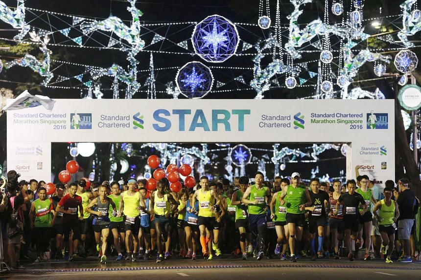 Runners setting off at the start of last year's Standard Chartered Marathon Singapore. This year, the event's marathon category has sold out for the first time in its 16-year history.