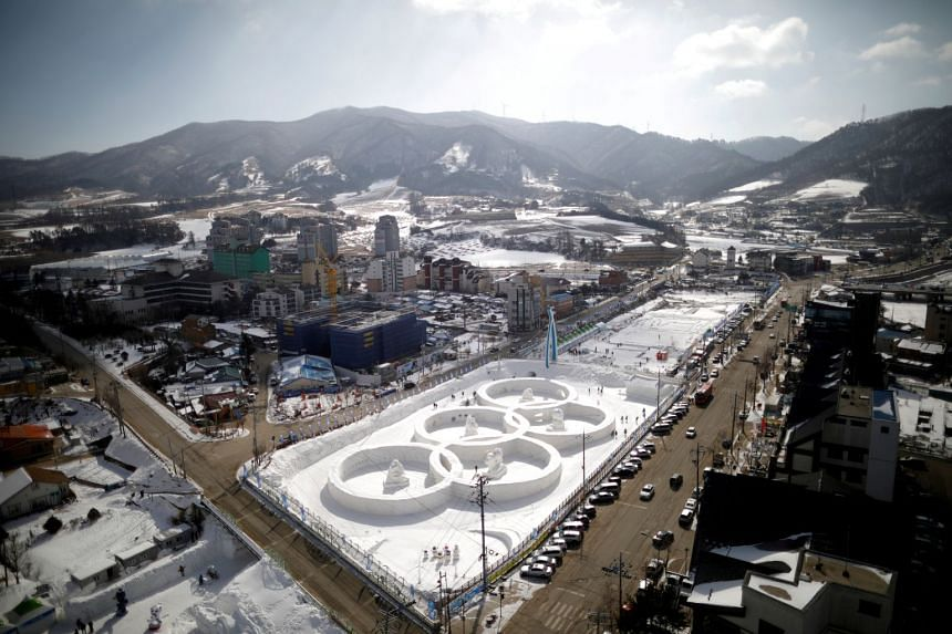 An ice sculpture of the Olympic rings is seen at the Pyeongchang Winter Festival in February 2017.