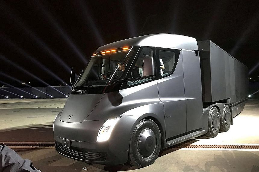 The prototype of an electric big-rig truck, dubbed the Tesla Semi, was unveiled on Thursday. Chief executive Elon Musk says the truck can go up to 800km at maximum weight at highway speed.