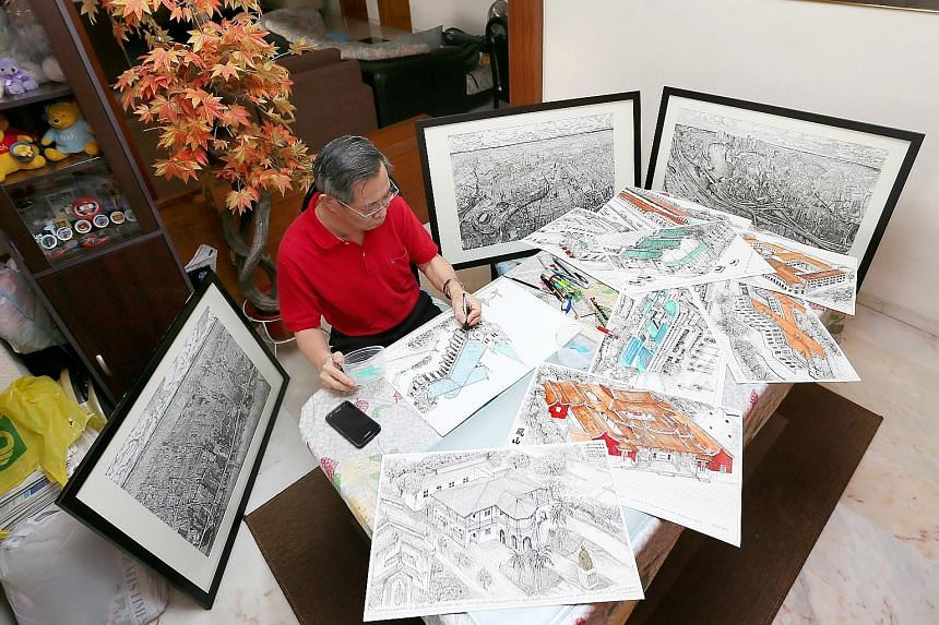 Below: Mr Steven Seow working on a sketch at his home in Tampines. He has completed drawings of 33 national monuments so far, including the Old Thong Chai Medical Institution (far right) and the former St Joseph's Institution, now the Singapore Art M
