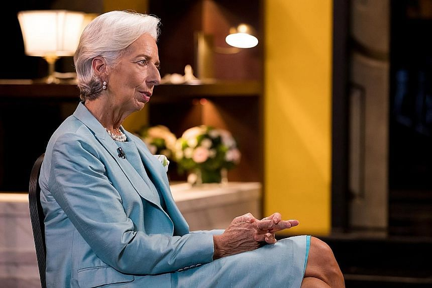 Ms Christine Lagarde at the Asia-Pacific Economic Cooperation (Apec) summit in Vietnam last week. In an exclusive interview with ST during a two-day visit to Singapore this week, she called on governments to step up investments in education and train
