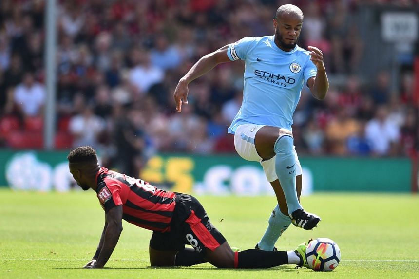 Kompany (right) in action against Bournemouth on Aug 26, 2017.