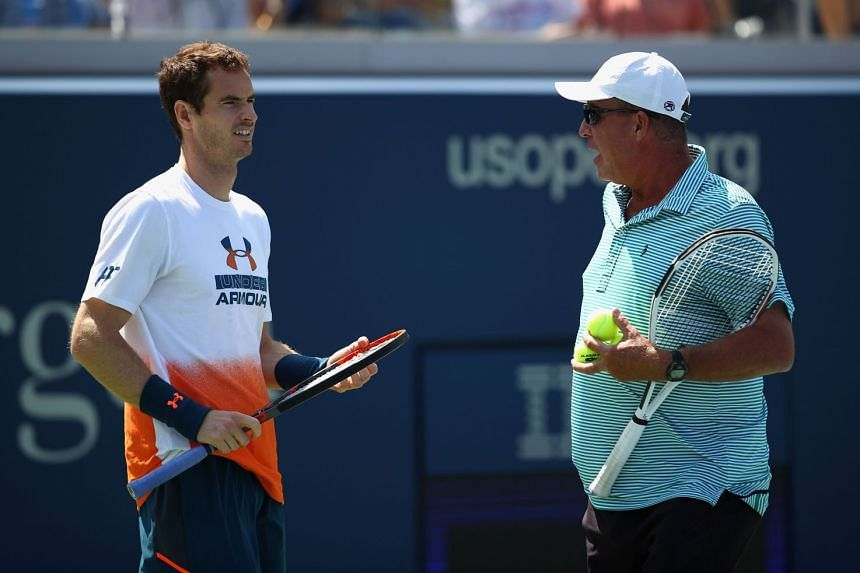 Andy Murray (left) with his coach Ivan Lendl during a practice session prior to the US Open Tennis Championships at USTA Billie Jean King National Tennis Center in New York City.