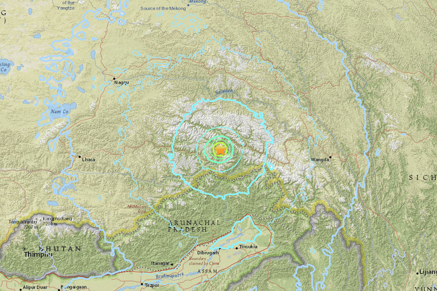 An earthquake of magnitude 6.3 struck southern China near the Indian border on Saturday (Nov 18), the United States Geological Survey (USGS) said.