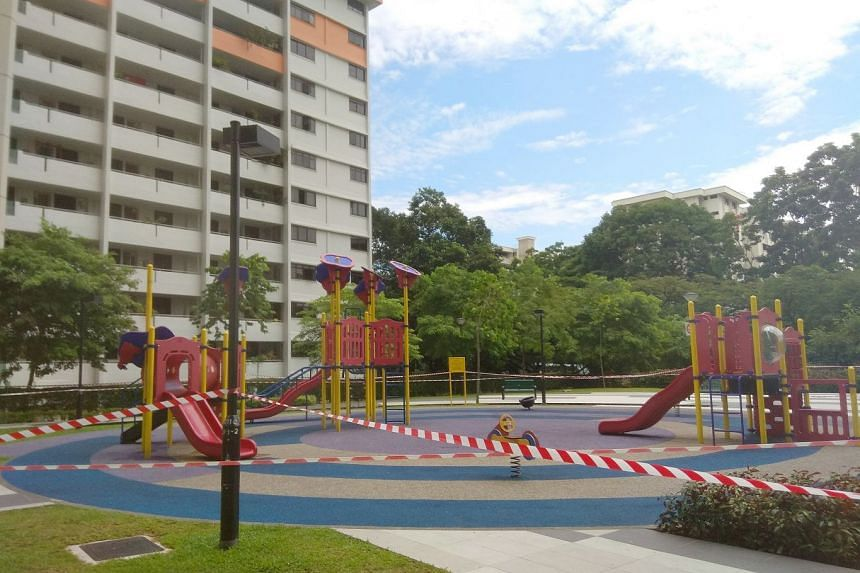 The playground at Trivelis in Clementi Avenue 4 remained cordoned off on Saturday (Nov 18).