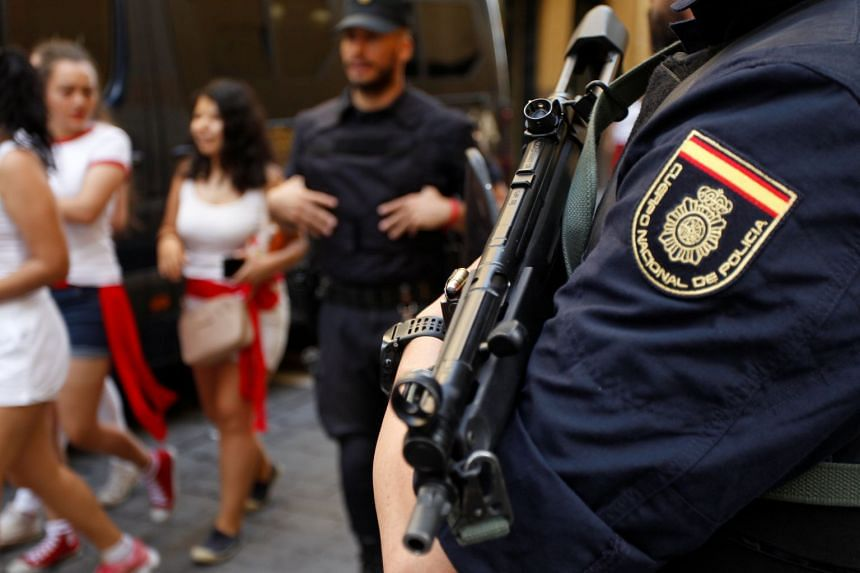 Spanish national police stand guard during a festival in northern Spain.