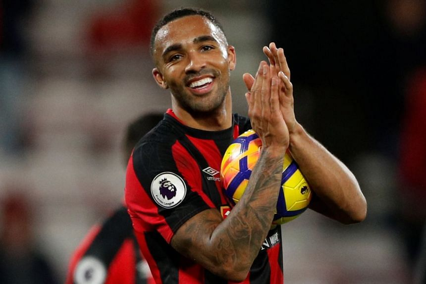 Bournemouth's Callum Wilson with the match ball to celebrate his hat trick after the game.