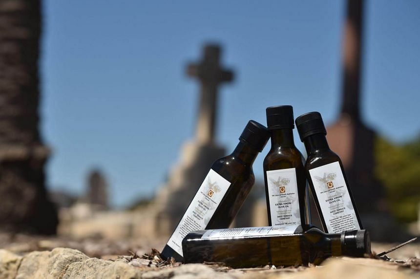 The last four bottles of 2017 limited-edition olive oil released to mark the 180th anniversary of the West Terrace Cemetery in Adelaide on Sept 27, 2017.