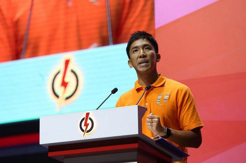 Mr David Tay delivers his speech at the annual PAP convention.