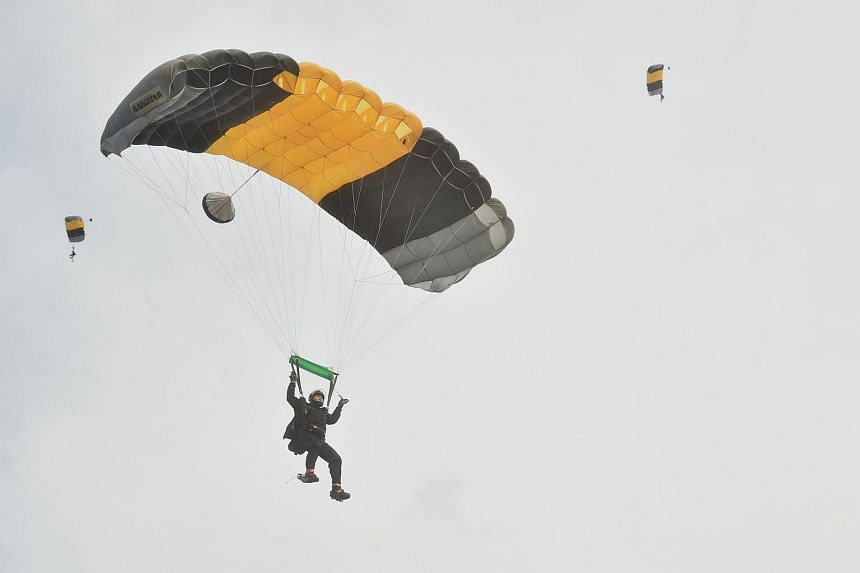 The Singapore Army Red Lions and Indonesian Army (TNI-AD) jumpers coming in to land during a combined jump rehearsal at the Murai Urban Training Facility (MUTF) on Nov 17, 2017.