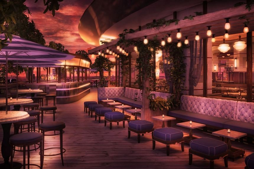 A rendering of the Outdoor terrace area at Lavo Singapore.