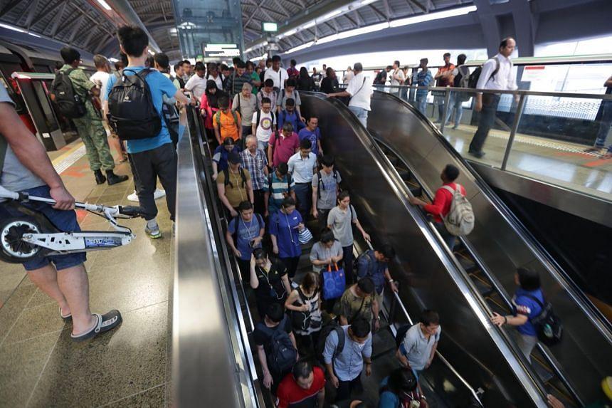 Commuters at Joo Koon MRT station on Nov 20, 2017.