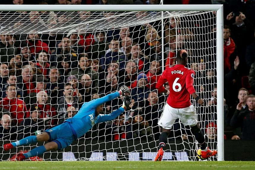 Paul Pogba scoring Manchester United's third goal in the 4-1 victory at Old Trafford after Newcastle United had scored the opening goal. The France midfielder was returning from a hamstring injury.