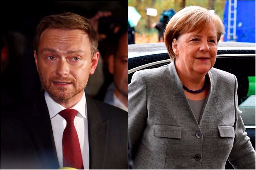 After more than a month of gruelling negotiations, Christian Lindner (left), leader of the Free Democratic Party said there was no 'basis of trust' to forge a government with Angela Merkel's conservative alliance CDU-CSU and ecologist Greens.