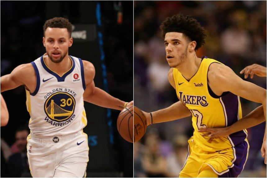 Stephen Curry (left) totalled 39 points, 11 rebounds and seven assists before fouling out while Lonzo Ball (right) recorded the second triple-double of his rookie season.