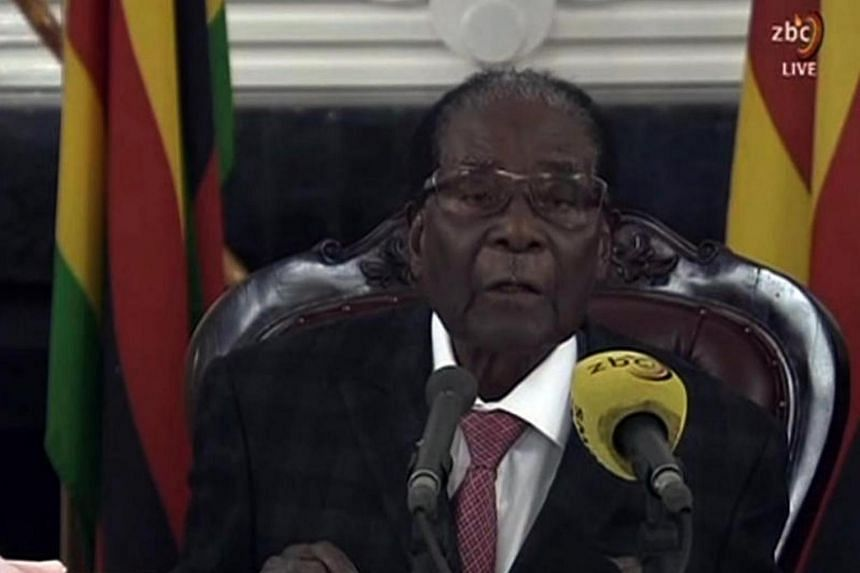Zimbabwe's President Robert Mugabe delivering a speech in Harare on Nov 19, 2017, following a meeting with army chiefs who have seized power in Zimbabwe.