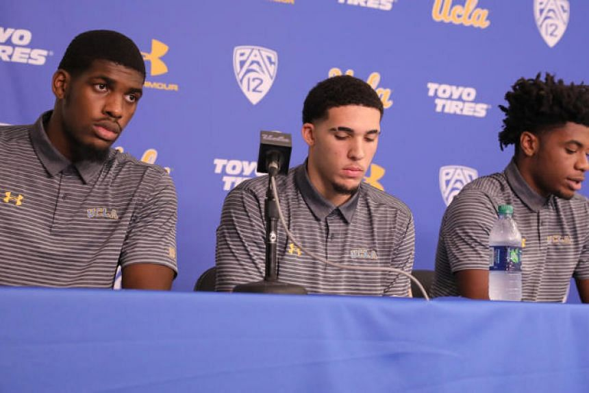 UCLA basketball players Cody Riley, LiAngelo Ball, and Jalen Hill at a press conference at UCLA after flying back from China where they were detained on suspicion of shoplifting, in Los Angeles, California, US on Nov 15, 2017.
