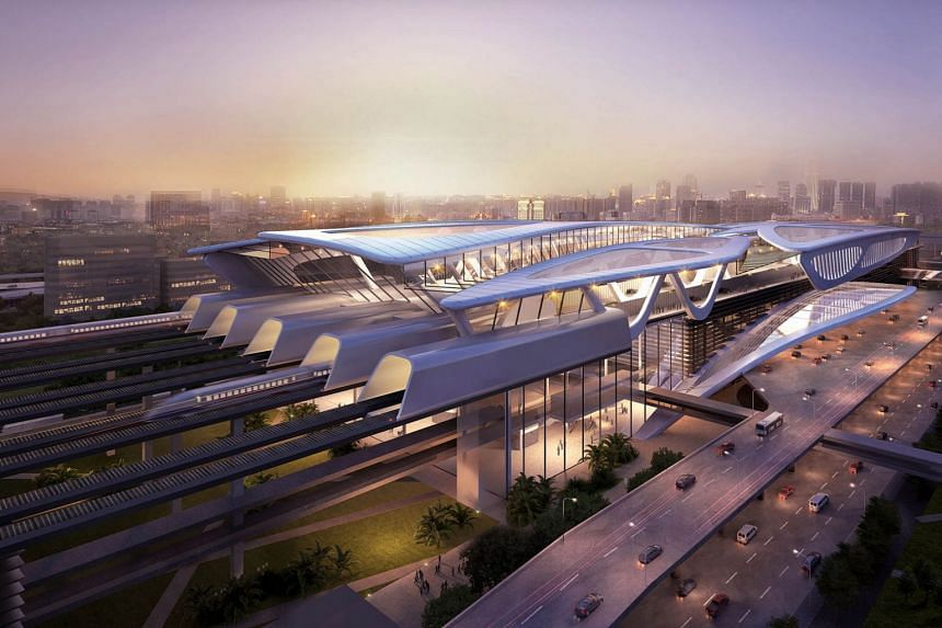 Artist's impression of the Bandar Malaysia station for the Kuala Lumpur-Singapore high speed rail.