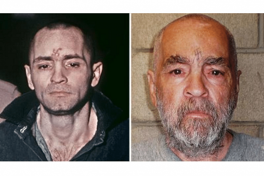 File photos of Charles Manson (left) taken during his trial in March 1971, and a handout image of him released by the California State Prison, Corcoran, which was taken on March 18, 2009.