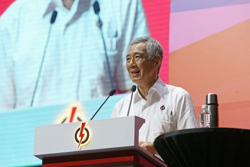 PM Lee Hsien Loong speaks at the PAP Awards and Convention 2017 at Big Box on Nov 19, 2017.