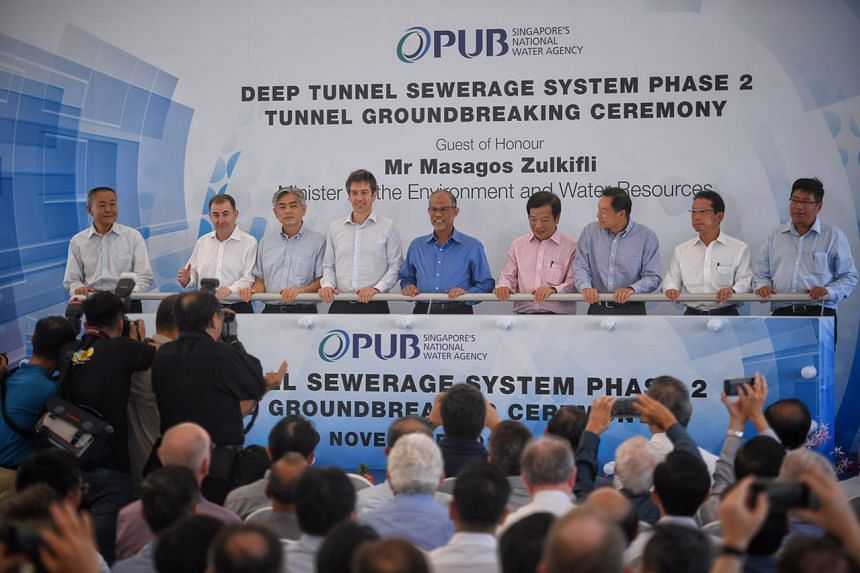 Minister for Environment and Water Resources Masagos Zulkifli (centre) at the ground-breaking ceremony of the Deep Tunnel Sewerage System Phase 2.