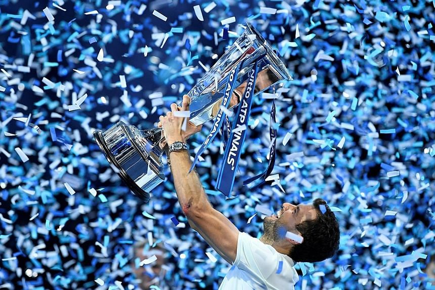 Bulgaria's Grigor Dimitrov celebrating his ATP Finals victory at London's O2 Arena on Sunday, after beating Belgium's David Goffin 7-5, 4-6, 6-3.
