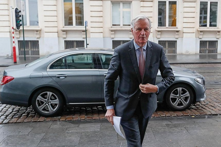 The European Union's chief Brexit negotiator Michel Barnier arriving at a conference at the Centre for European Reform in Brussels yesterday.