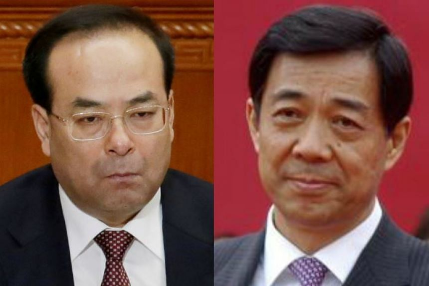 Sun Zhengcai (left) was dubbed a bully by the paper, while Bo Xilai was accused of raising his own flag.