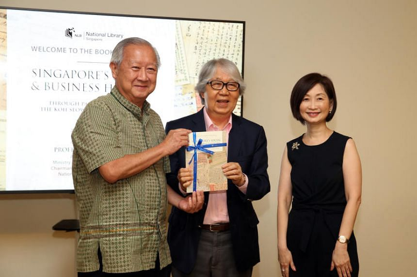 (From left) Mr Koh Seow Chuan, Professor Tommy Koh and NLB chief executive Elaine Ng at the launch of the new book Singapore's Social And Business History Through Paper Ephemera In The Koh Seow Chuan Collection on Nov 21, 2017.