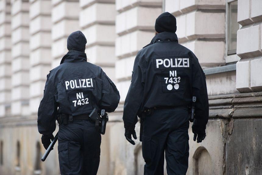 Policemen on patrol in Celle near Hanover, central Germany on Nov 7, 2017.