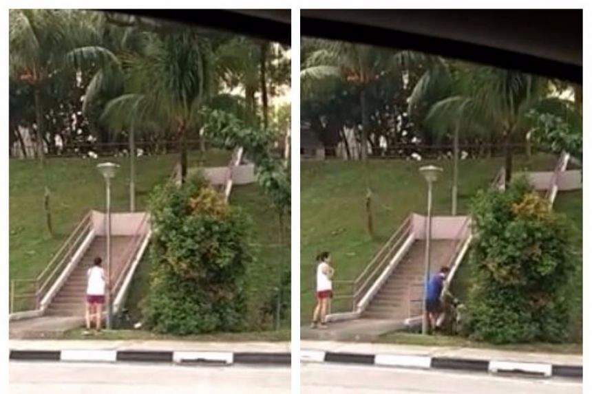 In the video that went viral on Tuesday, a man and a woman are seen wheeling a bicycle each into a drain, by a flight of stairs.