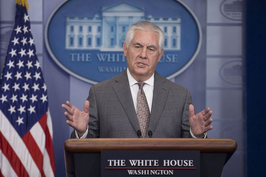 US Secretary of State Rex Tillerson participates in a news conference after US President Donald J. Trump named North Korea a state sponsor of terrorism, at the White House.