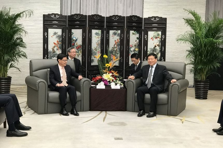 Minister for Finance Heng Swee Keat met Jiangsu party secretary Lou Qinjian in Suzhou on Wednesday (Nov 22) on the first day of his five-day visit to China.