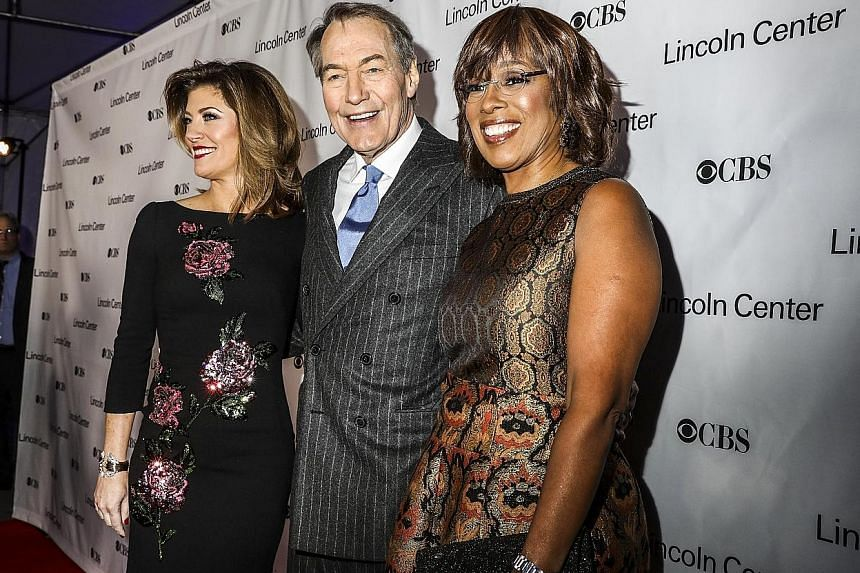 Veteran TV personality Charlie Rose with fellow CBS This Morning show hosts Norah O'Donnell (left in picture) and Gayle King in February. Eight women have accused him of making unwanted sexual advances between the late 1990s and 2011.