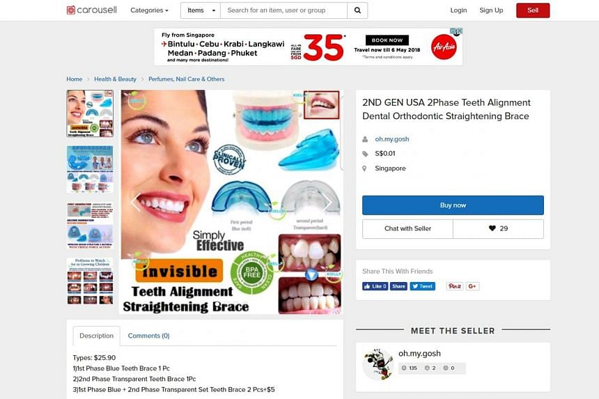 Cheap plastic braces are put up for sale freely on online platforms like Carousell and Qoo10. They purportedly push the teeth into proper alignment over a period of a few months, but their use may lead to problems such as poor fit or unwanted tooth m