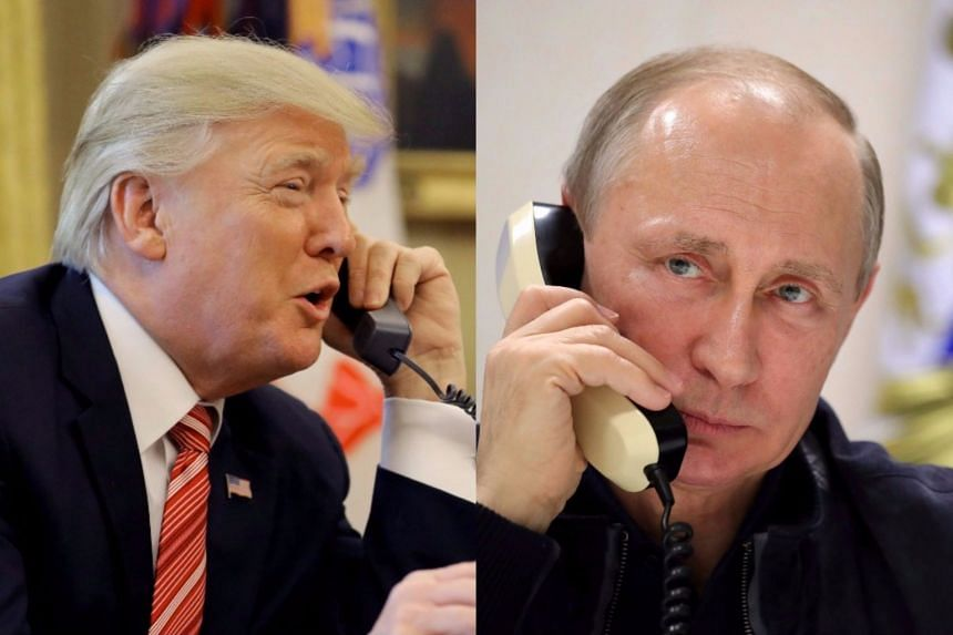 Donald Trump (left) and Vladimir Putin spoke on the phone for about an hour, said the White House.