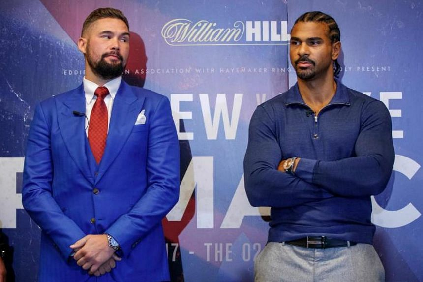 """Britain's former heavyweight world champion David Haye (right) has pulled out of next month's scheduled showdown with WBC (World Boxing Council) cruiserweight world champion Tony Bellew (left) after suffering a """"freak accident""""."""