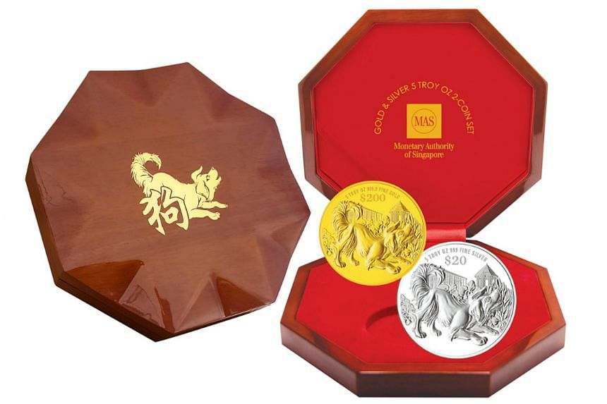 The Year of the Dog coins will feature the said animal with the Singapore Botanic Gardens, Singapore's first Unesco World Heritage Site, in the background.