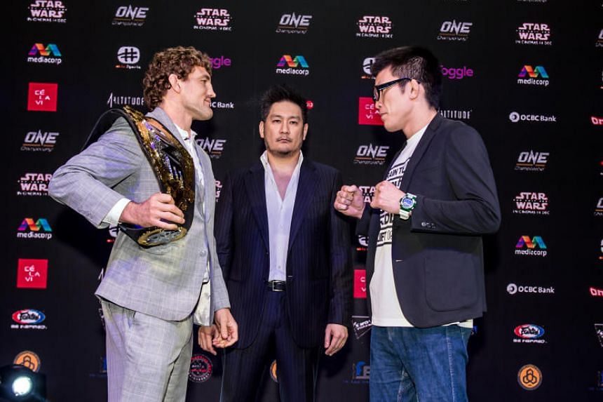 With the Angela Lee bout off for Friday (Nov 24), the attention will turn to American One welterweight world champion Ben Askren's (far left) final fight of his mixed martial arts career – against Evolve Fight Team stable-mate, Japan's Shinya A