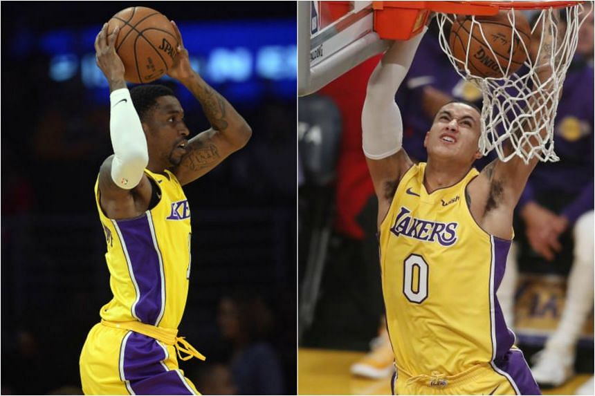 Kentavious Caldwell-Pope (left) and Kyle Kuzma (right) led the way as the Los Angeles Lakers staged a late rally to down the Chicago Bulls on Nov 21, 2017.