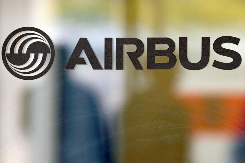 The logo of Airbus is pictured at the company's headquarters in Colomiers near Toulouse, France.