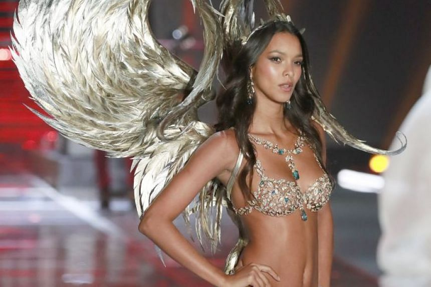 On the runway in Shanghai: Brazil-born model Lais Ribeiro (above), wearing the Champagne Night Fantasy Bra that is decked out with nearly 6,000 gemstones.