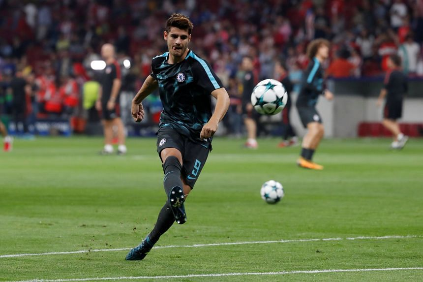 Chelsea's Alvaro Morata warming up before the Champions League game at Atletico Madrid on Sept 27, when he hit the equaliser to help his team to a dramatic 2-1 win. Morata's good form will be crucial for the Blues.