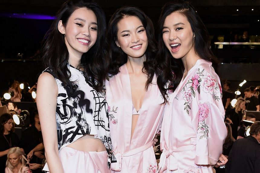 The show in Shanghai featured seven Chinese models including (from left) Ming Xi, Xin Xie and Estelle Chen.
