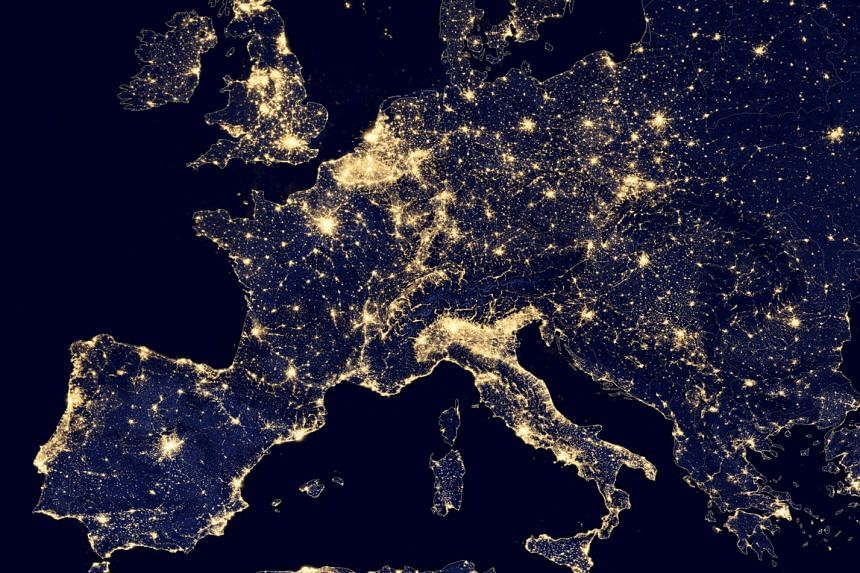 A nighttime view of Europe.