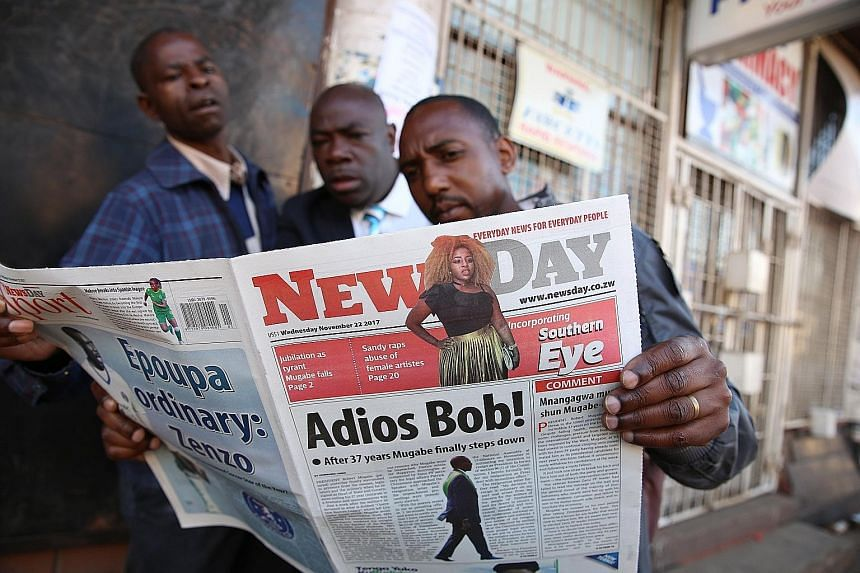 A newspaper in Harare yesterday carrying front-page news of Mr Mugabe's resignation, a move that has both shocked and delighted many Zimbabweans.